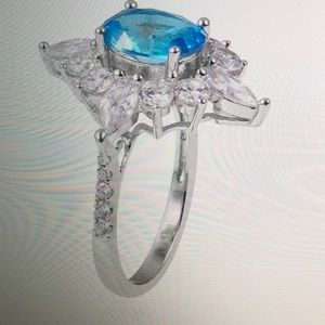 Jewelry - BLUE AND WHITE CZ RING